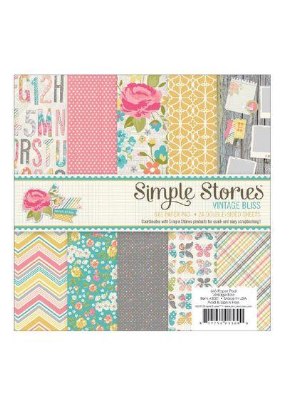 """Vintage Bliss 6""""X6"""" - Paper Pad 24/Pkg"""
