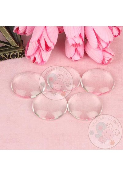 Clear Glass Round Cabochons No 15