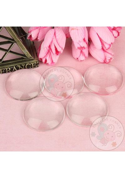 Clear Glass Round Cabochons No 7