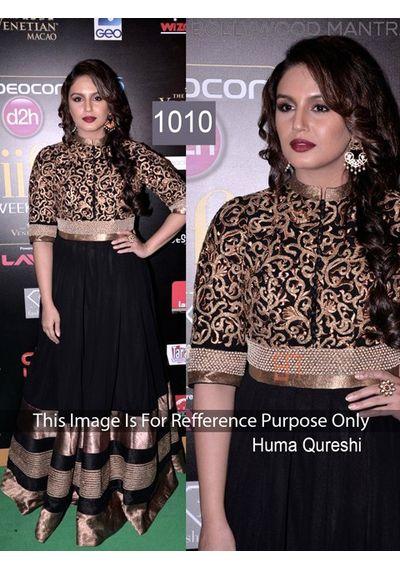 SALWAR.UK B433  Salwarr.com Huma Black Bollywood Winsome Designer Suit