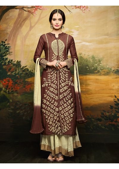 A171 SALWAR.UK BROWN GEORGETTE SUIT WITH EMBROIDERY WORK