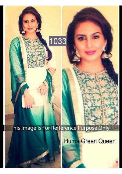 SALWAR.UK B435 Salwarr.com Huma green Decent Bollywood Designer Suit