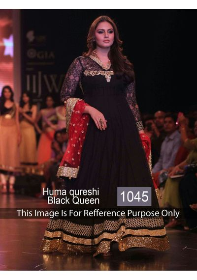 SALWAR.UK Decent Huma Qureshi Balck Queen Designer Bollywood Gown