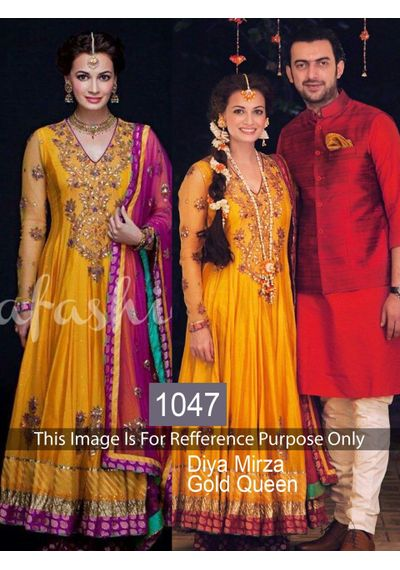 SALWAR.UK B432 Salwarr.com Graceful Diya Mirza Golden Designer Bolywood Suit