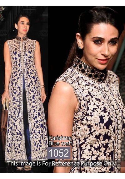 SALWAR.UK Delightful Karishma BlueGeorgette Bollywood Salawar