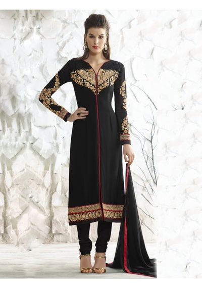 A143 SALWAR.UK BLACK GEORGETTE SUIT WITH EMBROIDERY WORK