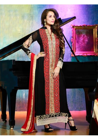 A194 SALWAR.UK BLACK GEORGETTE SUIT WITH EMBROIDERY WORK