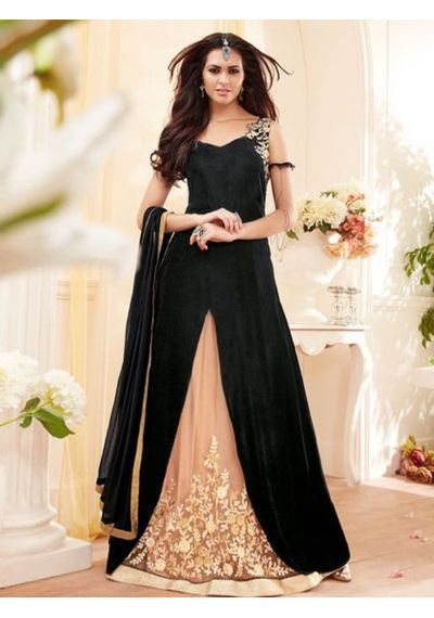 A192 SALWAR.UK BLACK GEORGETTE SUIT WITH EMBROIDERY WORK