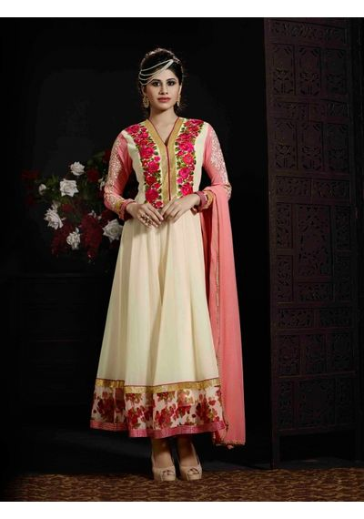 A181 SALWAR.UK CREAM GEORGETTE ANARKALI SUIT WITH EMBROIDERY WORK