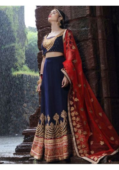 A163 SALWAR.UK BLUE VISCOSE GEORGETTE LEHENGA CHOLI WITH EMBROIDERY WORK