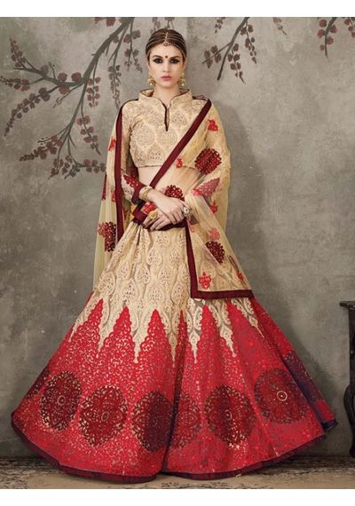 A170 SALWAR.UK BEIGE AND RED NET LEHENGA CHOLI WITH EMBROIDERY WORK