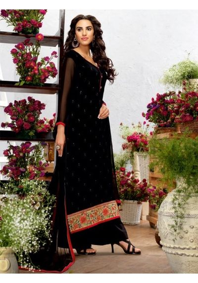 A190 SALWAR.UK BLACK GEORGETTE SUIT WITH EMBROIDERY WORK