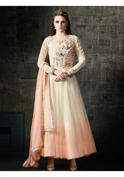 A183 SALWAR.UK CREAM GEORGETTE ANARKALI SUIT WITH EMBROIDERY WORK
