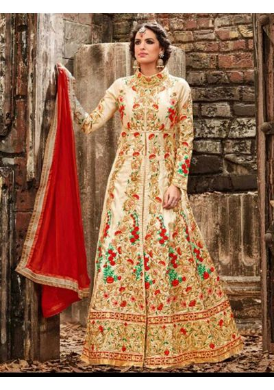 A187 SALWAR.UK CREAM SILK SUIT WITH EMBROIDERY WORK