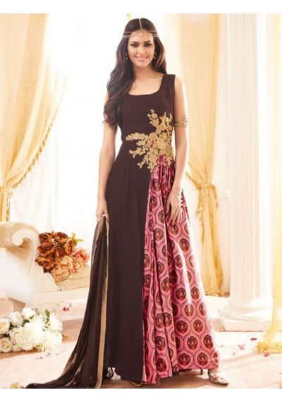 A167 SALWAR.UK BROWN GEORGETTE SUIT WITH EMBROIDERY WORK