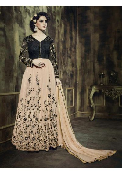 A182 SALWAR.UK BLACK AND CREAM GEORGETTE ANARKALI SUIT WITH EMBROIDERY WORK