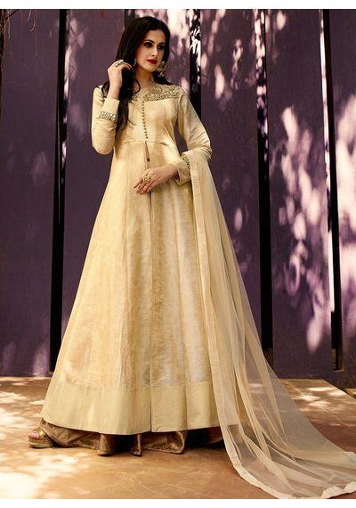 A137 SALWAR.UK Beige Art Silk Jacquard Long Length Salwar Suits