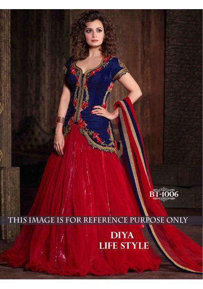 SALWAR.UK Diya Mirza Red Designer Suit