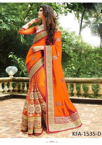 A191 SALWAR.UK Decent Orange Designer Georgette Saree