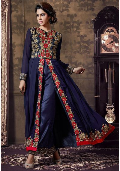 A126 SALWAR.UK  Embroidered Abaya Style Front Slit Georgette Suit in Navy Blue