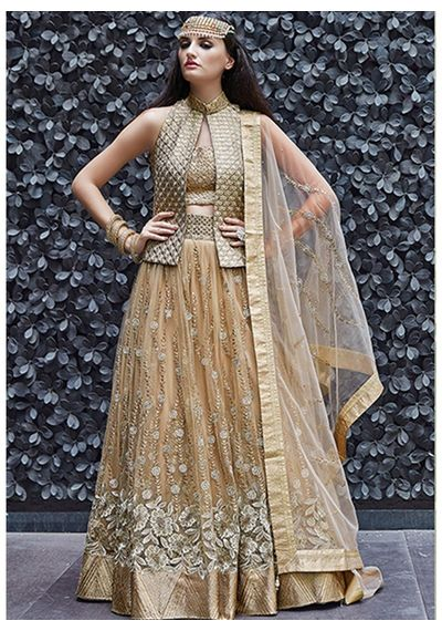 A125 SALWAR.UK B246Gold Net Satin Georgette Achkan Salwar Suit