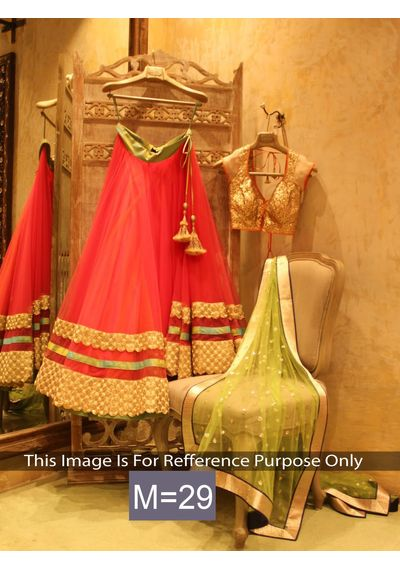 SALWAR.UK Red Designer Lehenga Choli