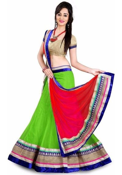 SALWAR.UK Green Designer Lehenga Choli
