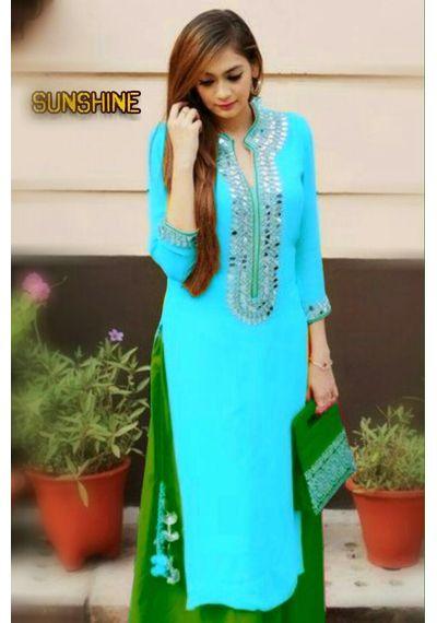 SALWAR.UK Sun Shine Sky Blue Designer Suit