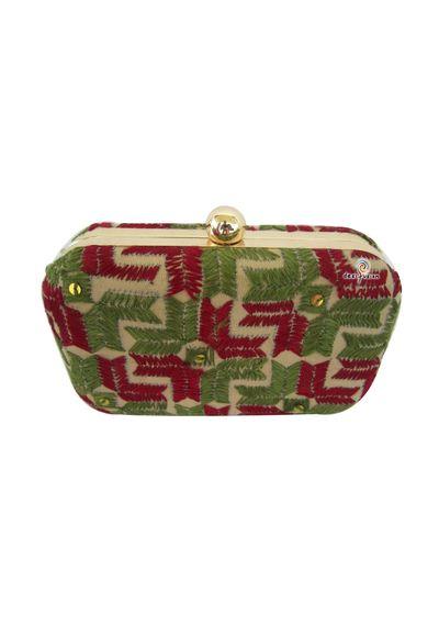 Handmade Phulkari Box clutch- Multicolor-2