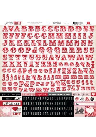 Echo Park - Yours Truly - Alpha Sticker  - 12x12 Sticker
