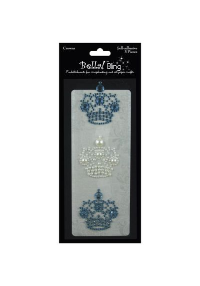 Bling Self-Adhesive Rhinestone/Pearl Crowns 3/Pkg - Blue