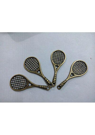 Tennis Racquet Shape Charms Antique Bronze  49x20x3mm (5 pcs)