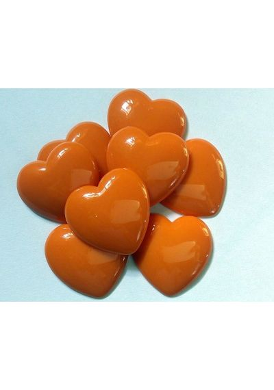 Orange-Red Resin Heart Flatback Cabochon Scrapbook Embellishment (Pack of 5)