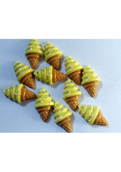 Yellow Ice Cream Resin Flatback Cabochon Scrapbook Embellishment (Pack of 5)