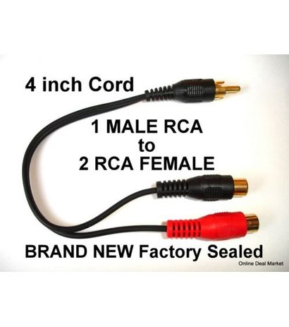 AUDIO Y GOLD SPLITTER CABLE 1 ONE M MALE MONO JACK TO 2 TWO F FEMALE PLUG