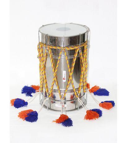 SG Musical Special Punjabi Bhangra Steel Dhol, Glass/White Skin, Dhol No.12*4