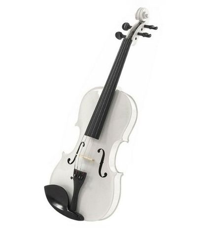 SG Musical 4/4 White Solid Wood Violin with Hard Case
