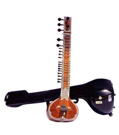 Sg Musical teak Sitar Kharaj Pancham Single Tumba Half-decorated Angur Patta With Free Carry Case.