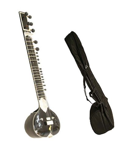Sg Musical Black Sitar Kharaj Pancham Single Toomba Half Decorated With Free Carry Case.