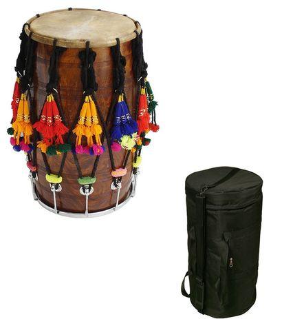 SG  Musical Punjabi Bhangra Kali Talli Wood Dhol With Free Carry Case.