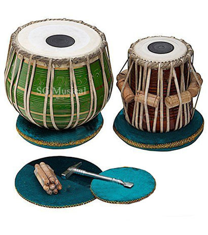 Green Brass Tabla Set- Carry Bag, Tuning Pegs accessories