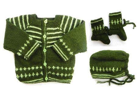 0 - 3 Month Handmade Baby Woolen Sweater Set BS002