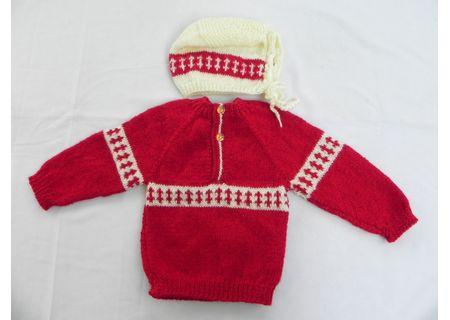 6 Months -  Handmade Baby Woolen Sweater Set BS16