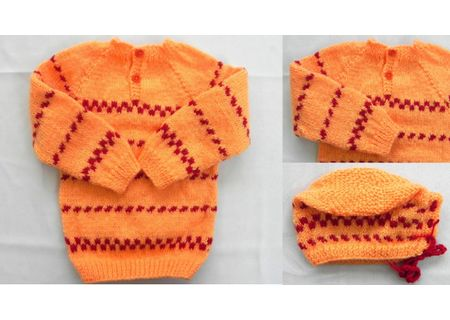 6 Months -  Handmade Baby Woolen Sweater Set BS17