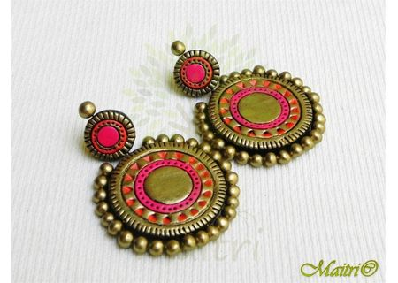 Terracotta Earring - Stud Dangler-Exclusive TEC408