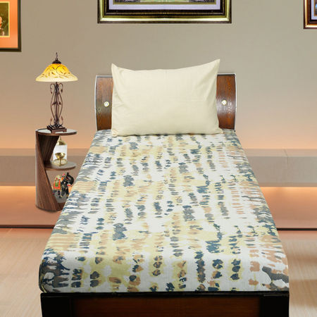 Cotton Tie Dye Beige Printed Single Bedsheet Set W/Pillow Cover-Pack of 3 Pcs  by Dekor World (MORE COLOR)