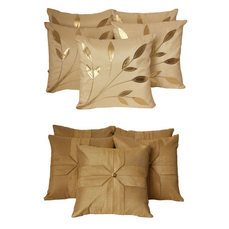 Dekor World Cream Floral Combo. Cushion Cover(Pack of 10 Pcs)