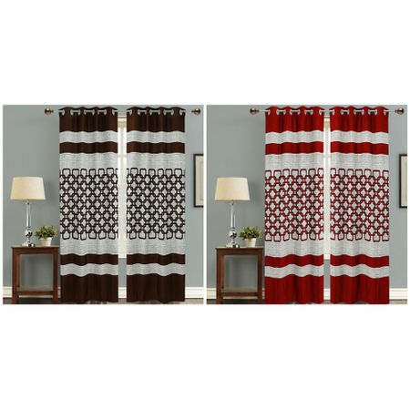 Abstract Brown Eyelet Curtain Set (Pack of 2 Pcs)by Dekor World (More Colour)
