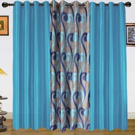 Sprial World With Solid Curtain Combo. (Pack of 3) by Dekor World  (More Colour)