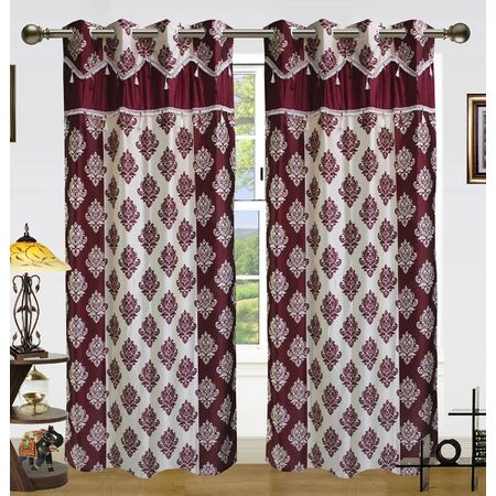 Double Damask Lace Curtain(Pack of 2) by Dekor World (More Colour)